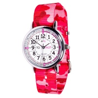 Easy Read kids Watch (Pink Camo with White & Pink face) Learn to tell the time (Past and To)