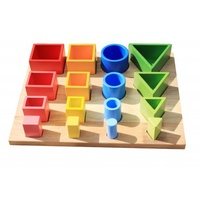 Montessori Inspired wooden 3D sorting and nesting board