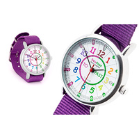 Easy Read Time Teacher Watch ( Purple Band)