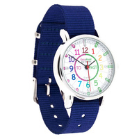 Easy Read Kids Watch (Blue Band with Rainbow face ) Learn to tell the time (Past and To)
